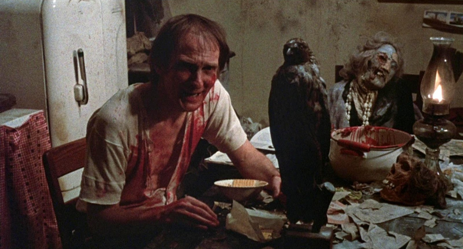 Roberts Blossom as Ezra Cobb based on true-life serial killer and necrophile Ed Gein in Deranged (1974)