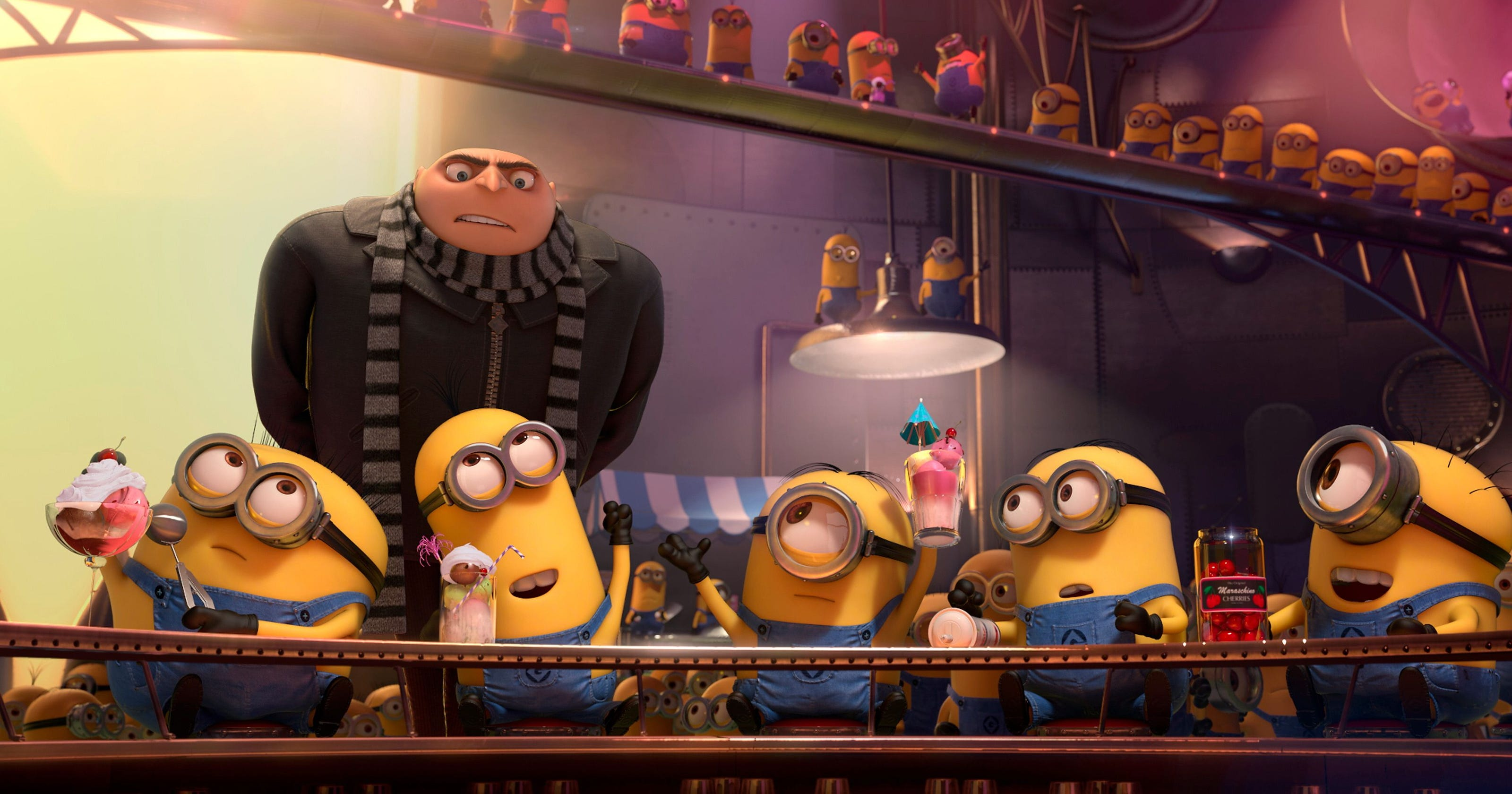 Gru (voiced by Steve Carell) and the Minions - back for more in Despicable Me 2 (2013)