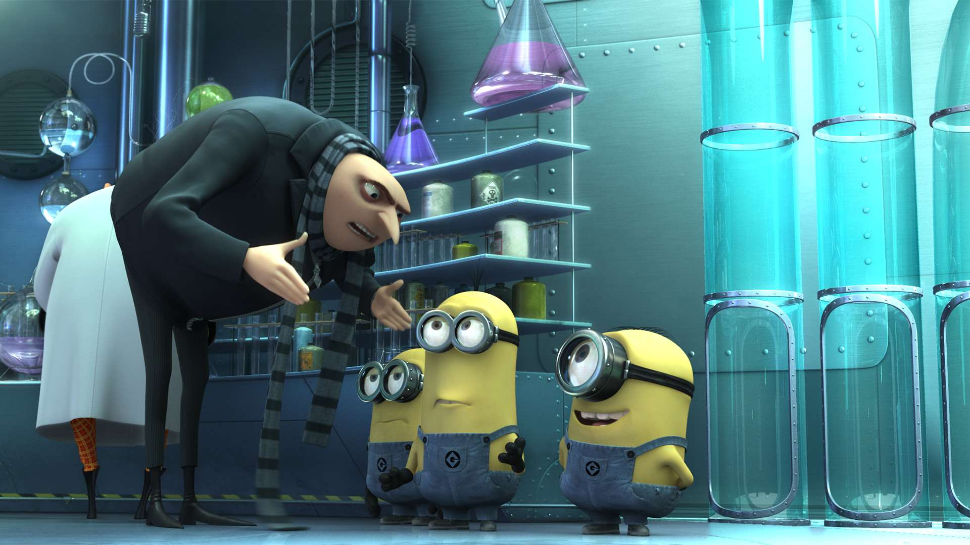 The super-villain Gru (voiced by Steve Carell) and the Minions in Despicable Me (2010)
