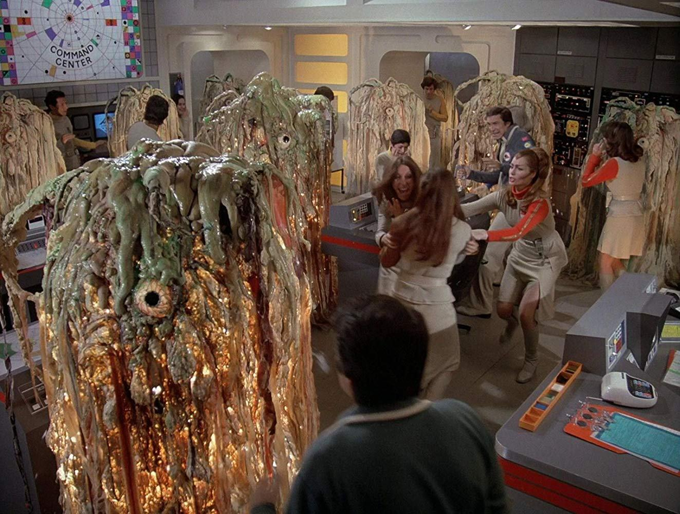Command Center invaded by aliens in Destination Moonbase-Alpha (1979)