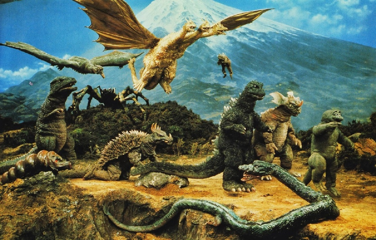 All the monsters under Toho's roof to that point - Rodan, Ghidrah, Varan, Kumonga, the larval Mothra, Gorosaurus, Anguirus, Godzilla, Baragon, Minya and Manda in Destroy All Monsters (1968)
