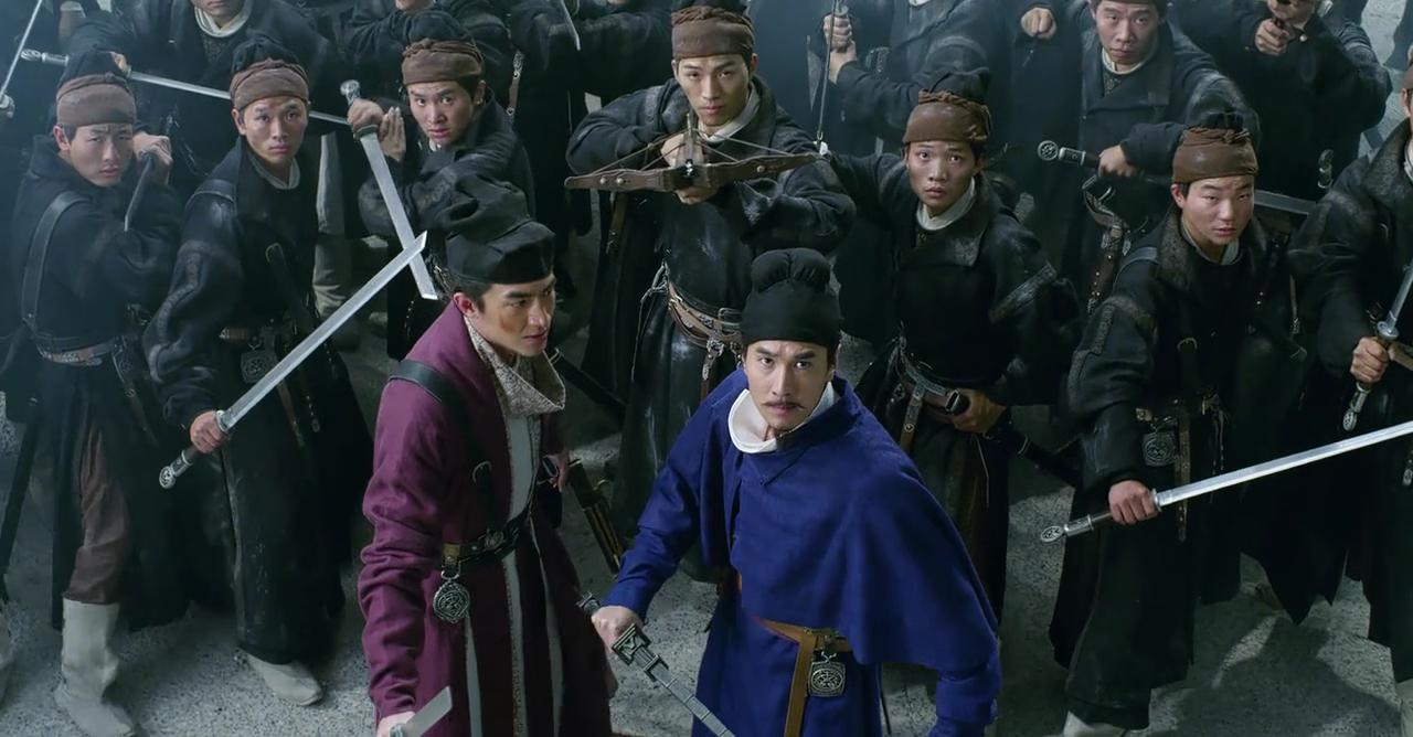 March Chao (front in blue) back gain as De Renjie in Detective Dee: The Four Heavenly Kings (2018)