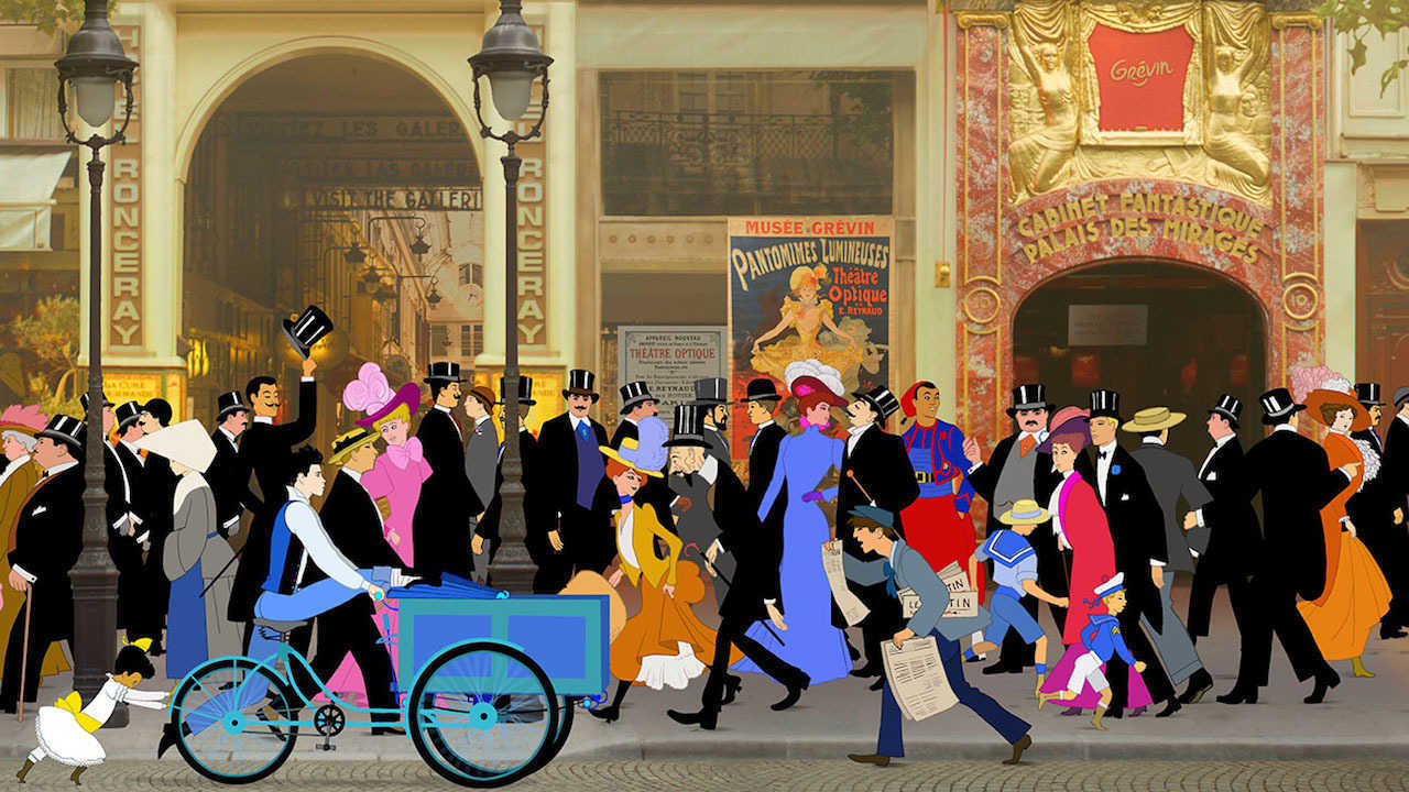 Dilili helps push Orel's cycle through the streets of Paris in Paris (2018)