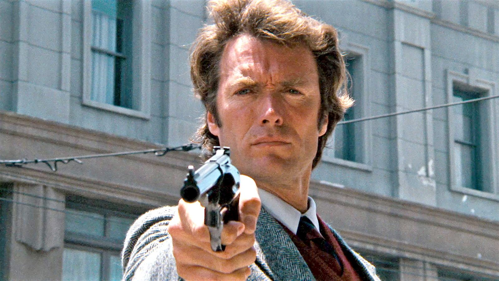 "Clint Eastwood and Magnum .44 in Dirty Harry (1971)- ""You've got to ask yourself the question – do you feel lucky? Well, do you punk?"""
