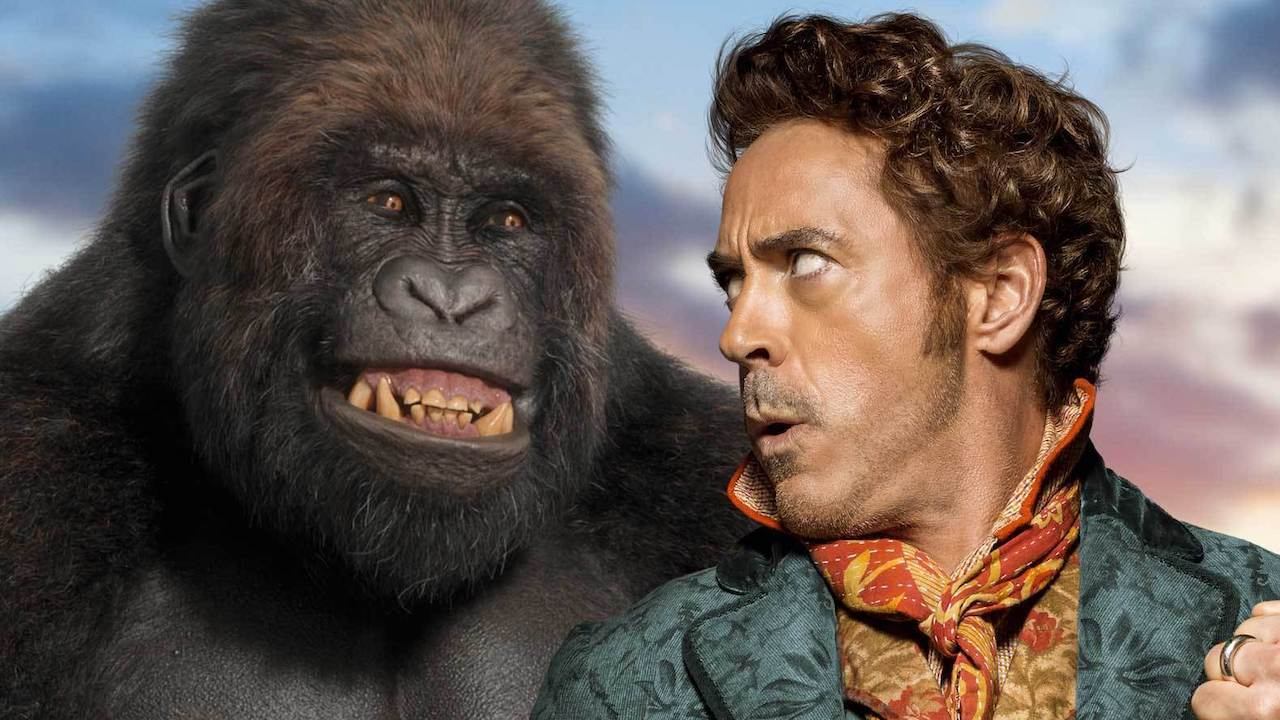 Dr Dolittle (Robert Downey Jr) with Chee-Chhe the gorilla (voiced by Rami Malek) in Dolittle (2020)