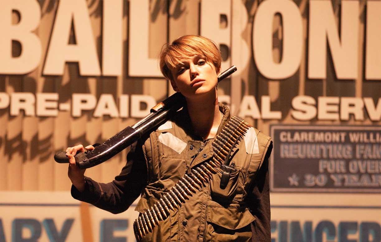 Keira Knightley as bounty hunter Domino Harvey in Domino (2005)