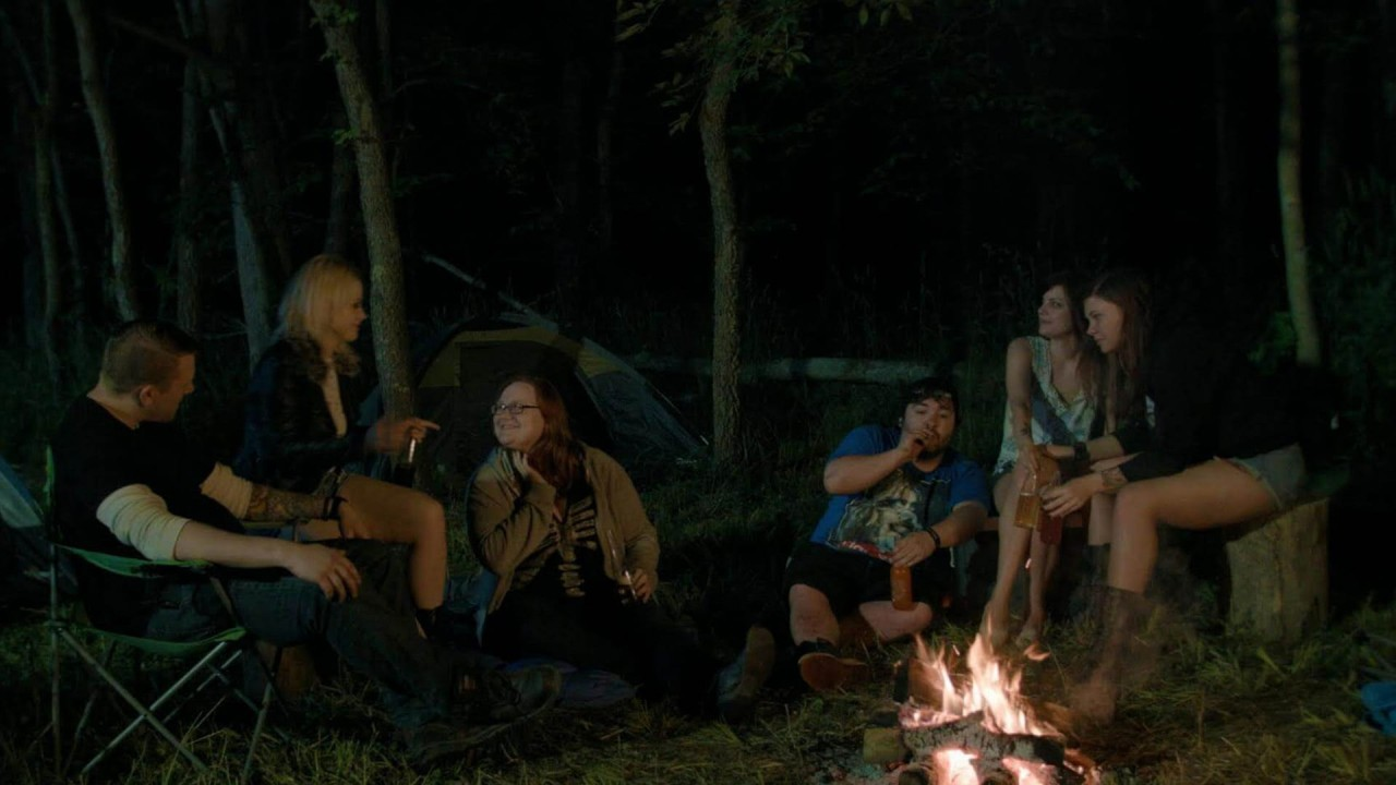 Brian Cornell, Nadia White, Hannah Herdt, Roman Jossart, Ayse Howard and Brittany Blanton in Don't Fuck in the Woods (2016)