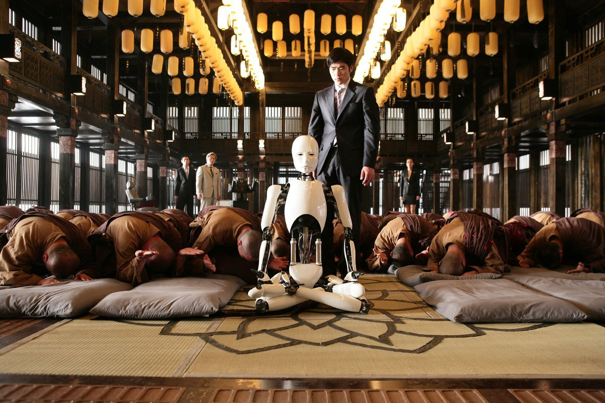 The RU-4 robot causes chaos at a monastery when it declares itself the incarnation of the Buddha in The Heavenly Creature episode, of Doomsday Book (2012)
