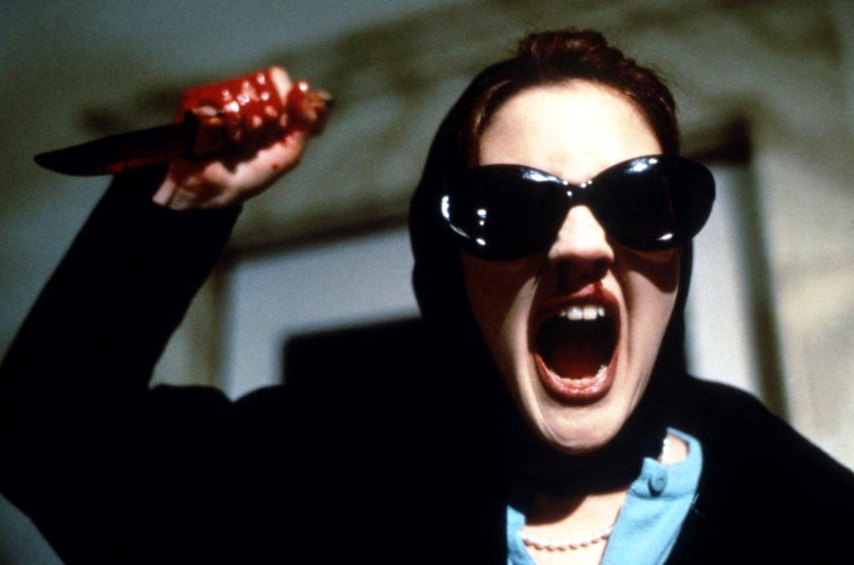 Drew Barrymore's doppelganger attacks in Doppelganger (1993)