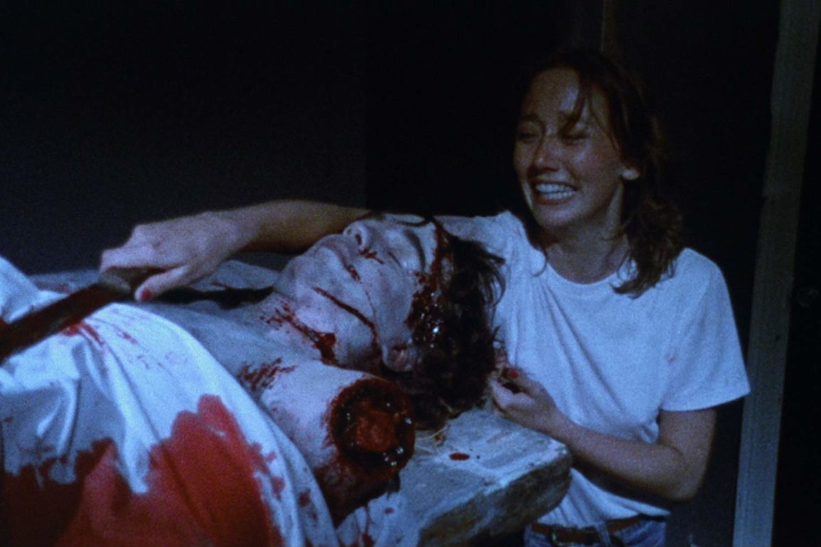 Laurie Lipinski finds a murdered victim in The Dorm That Dripped Blood (1982)