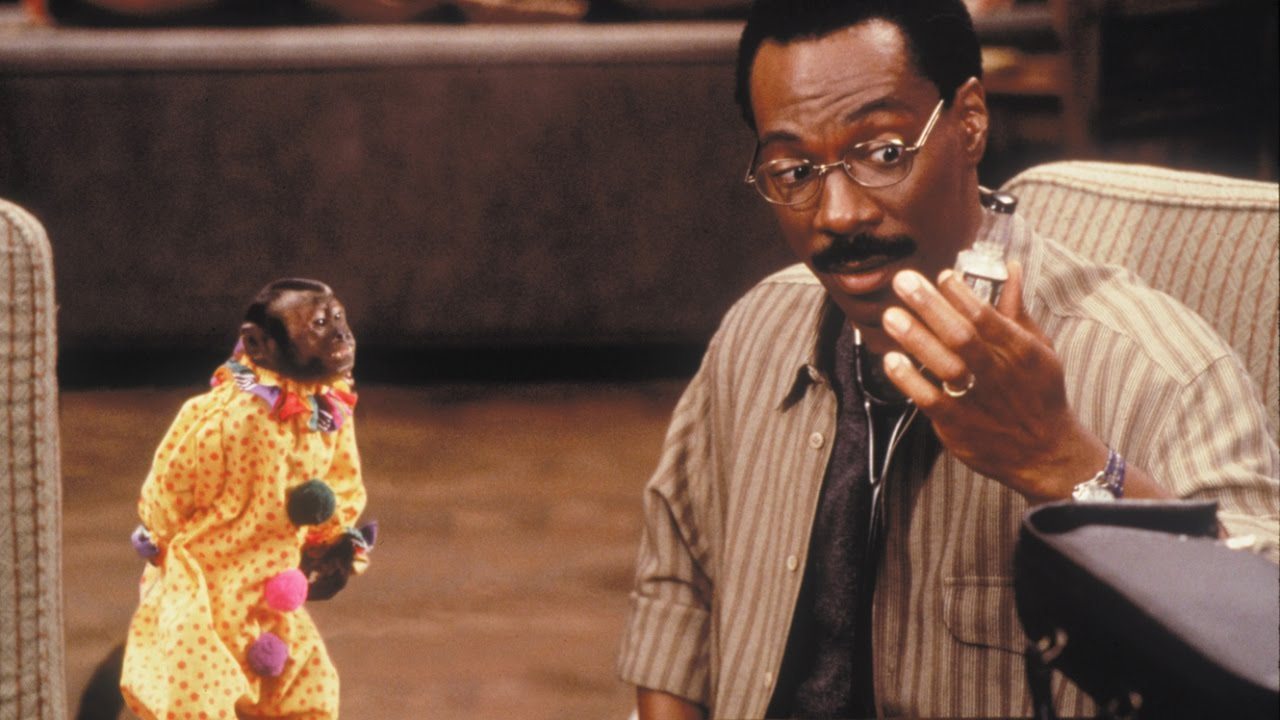 Doctor Dolittle (Eddie Murphy) and monkey companion in Dr Dolittle (1998)