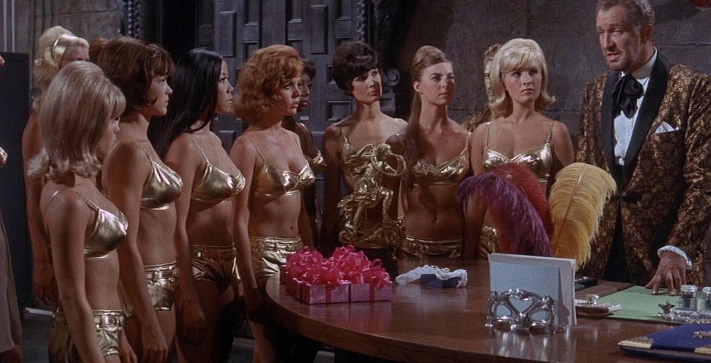 Dr Goldfoot (Vincent Price) and his army of fembots in Dr Goldfoot and the Bikini Machine (1965)