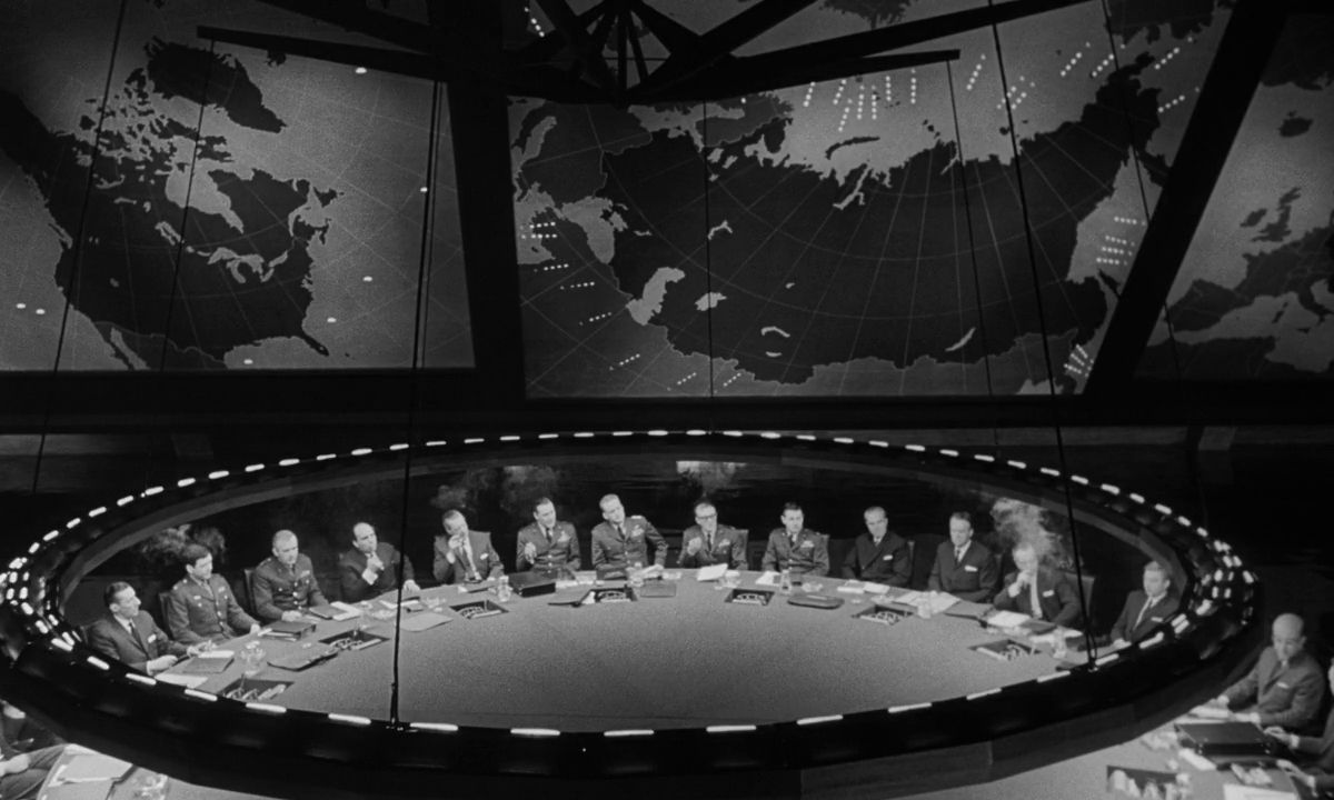 Ken Adam's amazing set for the War Room in Dr Strangelove or How I Learned to Stop Worrying and Love the Bomb (1964)