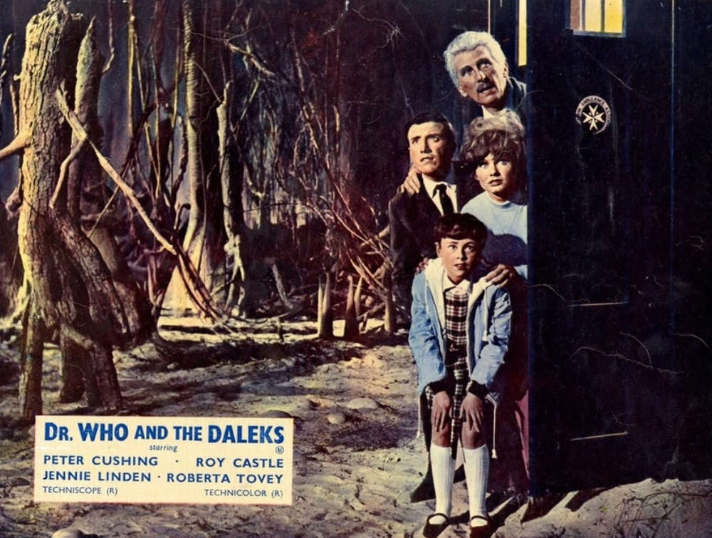 Doctor Who (Peter Cushing), Ian (Roy Castle), Barbara (Jennie Linden) and Susan (Roberta Tovey) in Dr Who and the Daleks (1965)