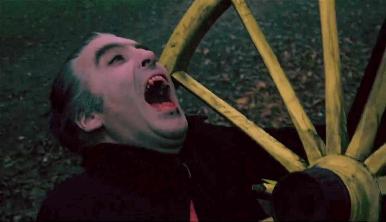 Dracula (Christopher Lee)'s death by impalement on a cartwheel in Dracula A.D. 1972 (1972)