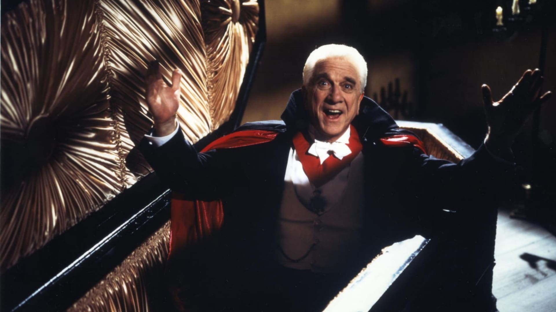Leslie Nielsen as Count Dracula in Dracula: Dead and Loving It (1995)