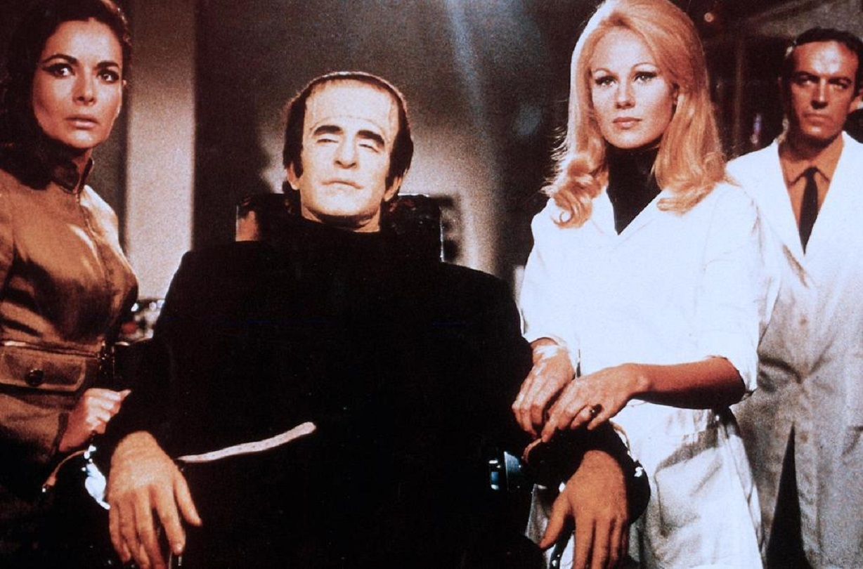 The Farancksalan Monster (Ferdinando Murolo) and Karin Dor in Dracula vs. Frankenstein (1970)