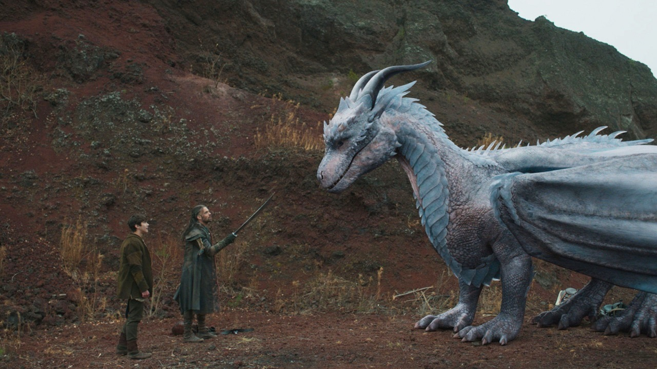 Lukas (Jack Kane), Darius (Joseph Millson) and the dragon Siveth (voiced by Helena Bonham Carter) in DragonHeart Vengeance (2020)