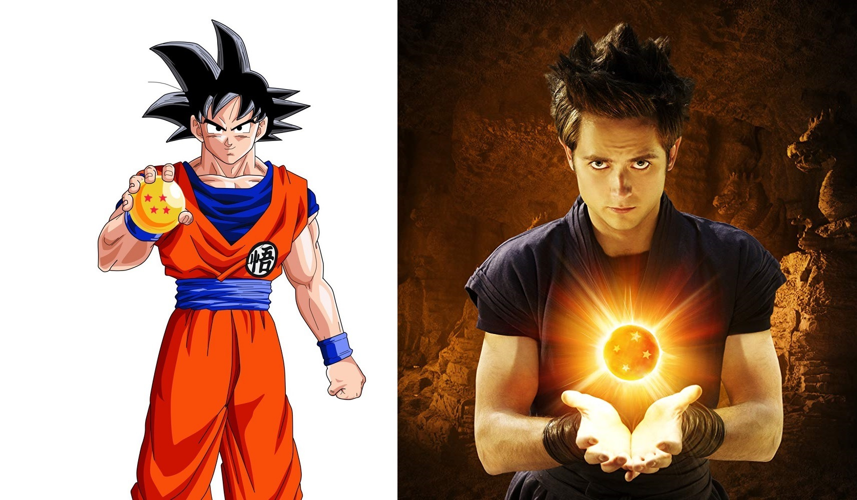 The anime version of Goku vs Justin Chatwin as the live-action Goku in Dragonball Evolution (2009)