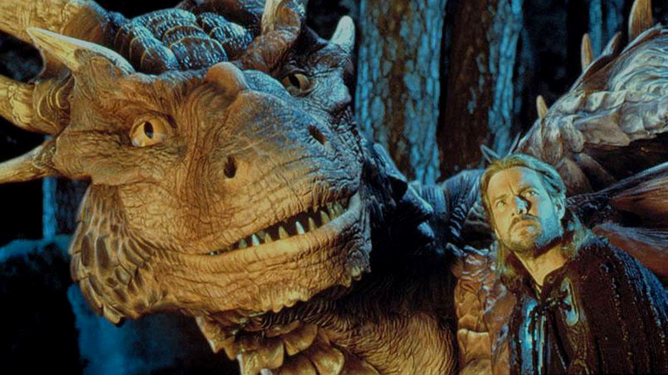 Draco the dragon (voiced by Sean Connery) and Bowen (Dennis Quaid) in DragonHeart (1996)
