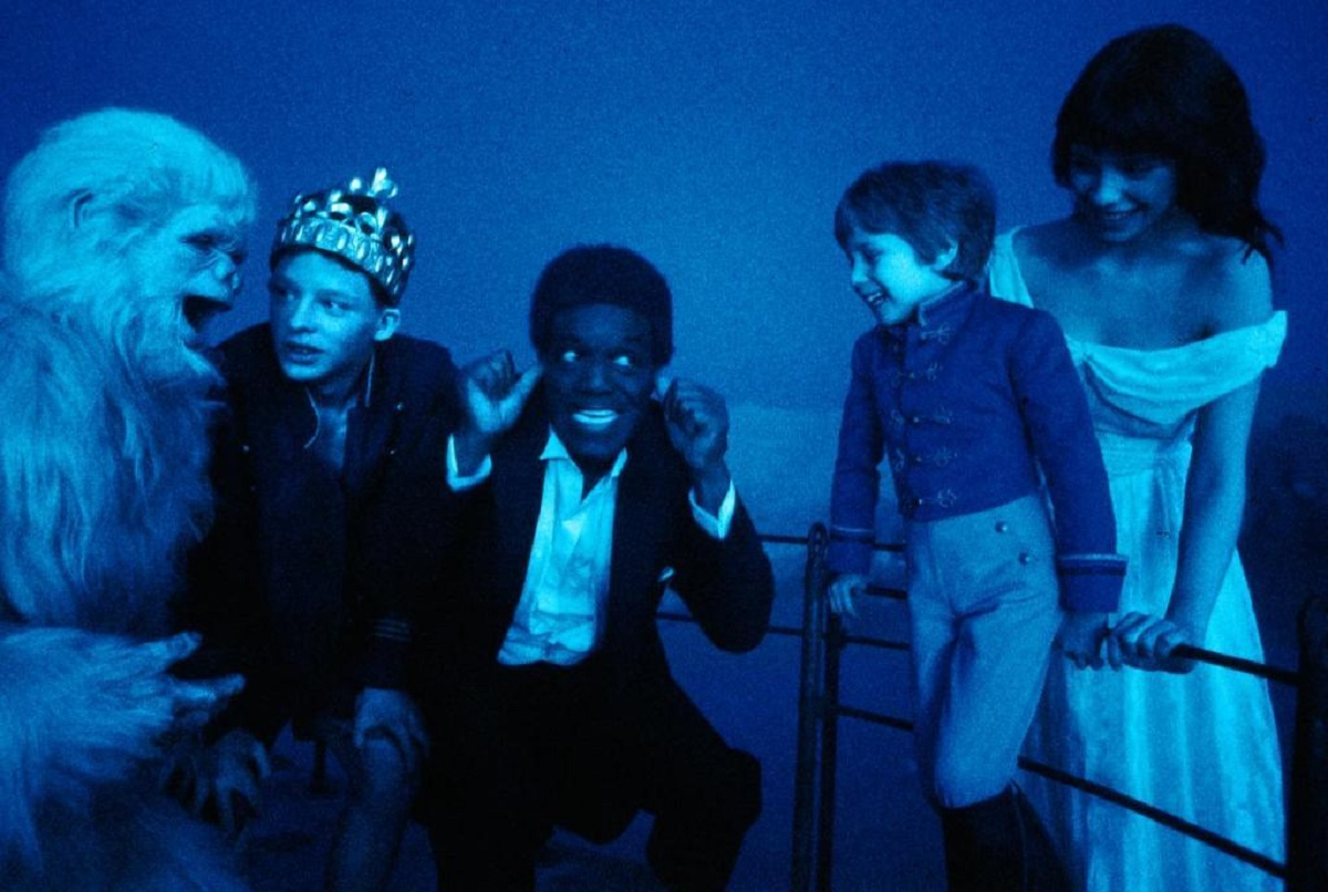 Monkey (Dominique Pinon), Cunegond (Charley Boorman), Mr Rip (Nipsey Russell), Nemo (Seth Kibel) and Princess Alice (Mathilda May) in Dream One (1984)