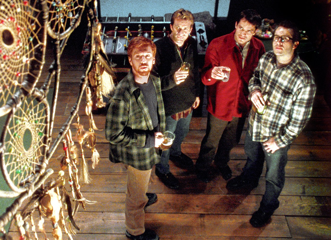 Four friends on a get-together at a cabin in the woods - Damian Lewis, Thomas Jane, Timothy Olyphant, Jason Lee in Dreamcatcher (2003)