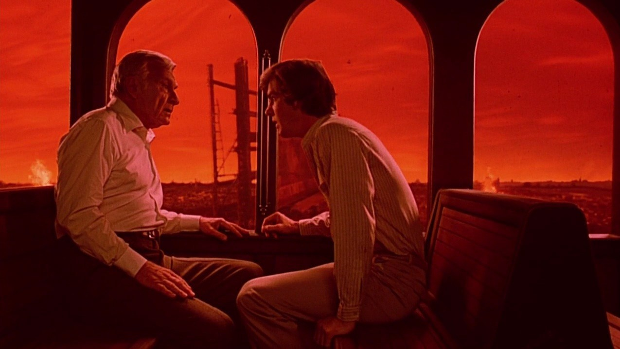 Psychic Dennis Quaid talks to the President (Eddie Albert) in his dream of a nuclear devastated world in Dreamscape (1984)