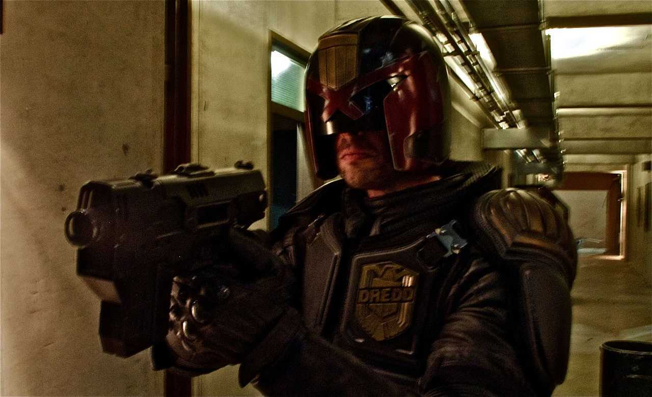 Karl Urban as Judge Dredd in Dredd (2012)