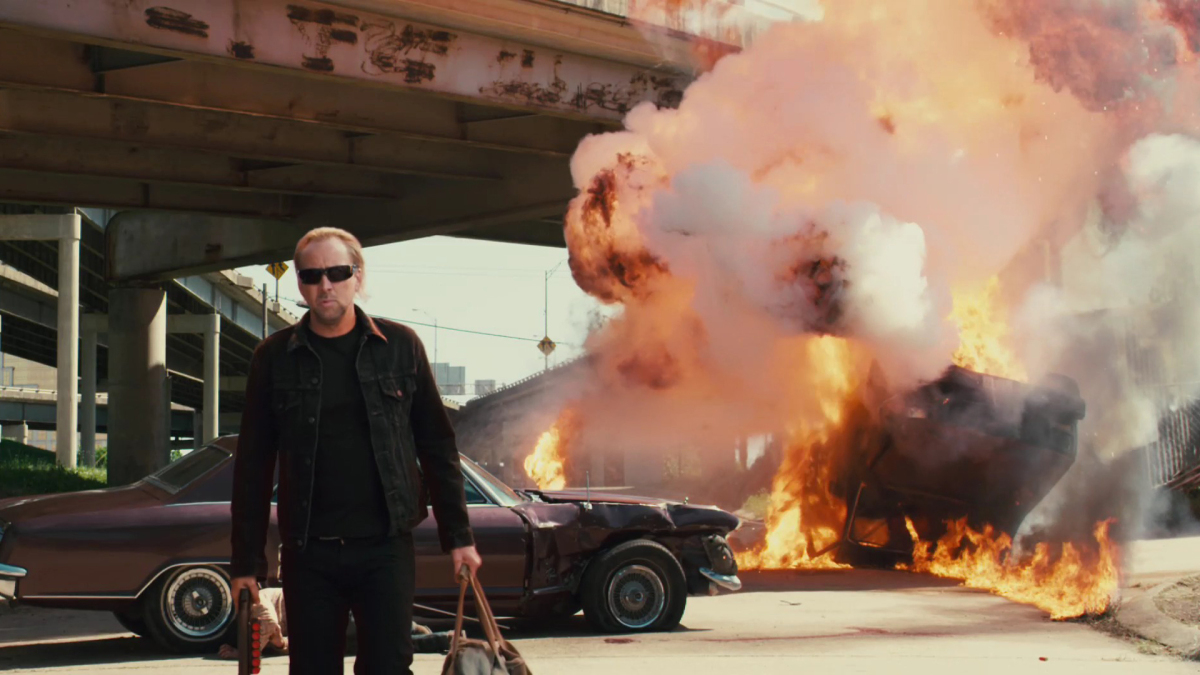 John Milton (Nicolas Cage) returned from Hell in Drive Angry (2011)