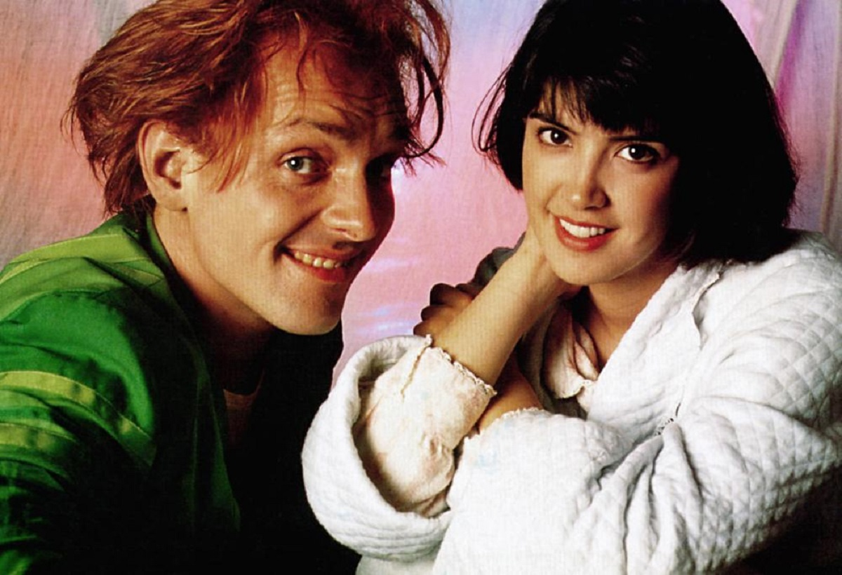 Phoebe Cates with Rik Mayall as Drop Dead Fred (1991)