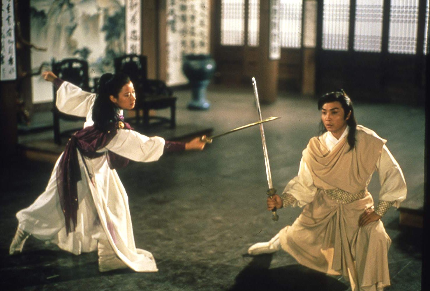 Flora Cheung and Damian Lau in combat in Duel to the Death (1983)