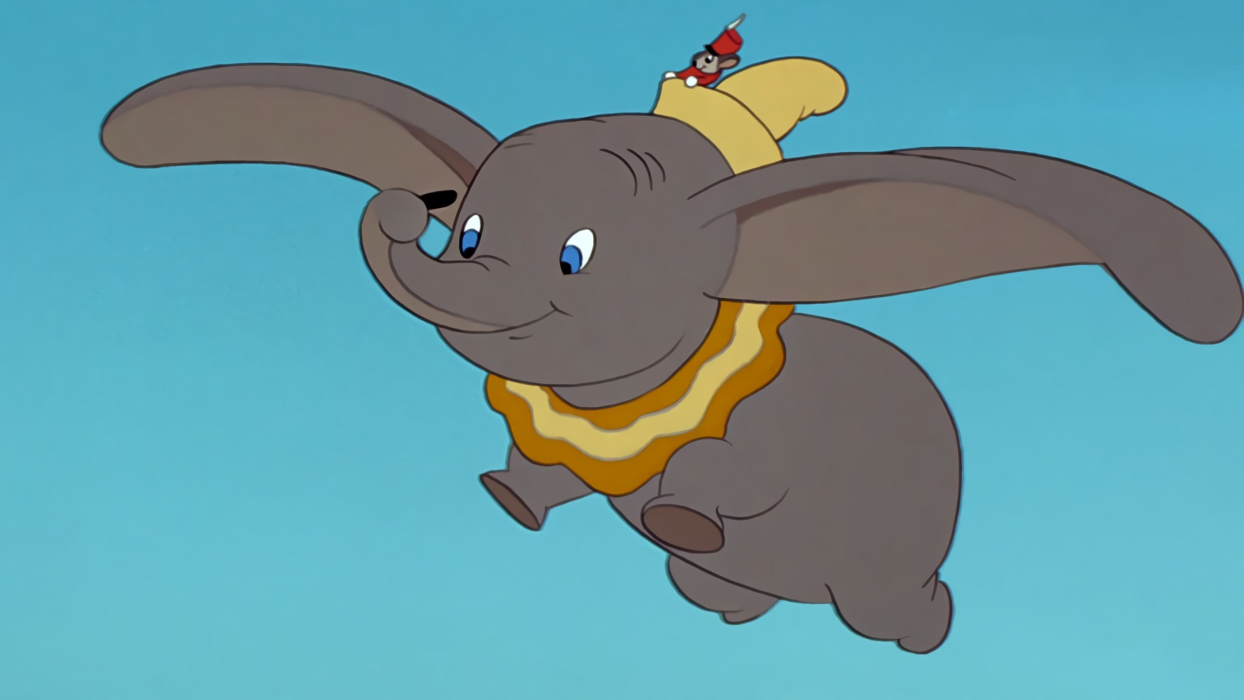 Dumbo and Timothy Mouse in flight in Dumbo (1941)