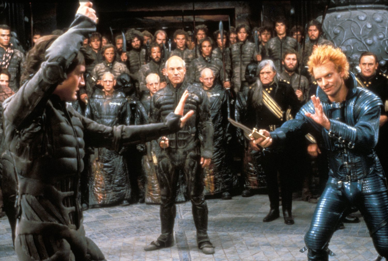 The climactic showdown between Paul (Kyle MacLachlan) and Feyd-Rautha (Sting) with Patrick Stewart as Gurney Hallick Dune (1984)