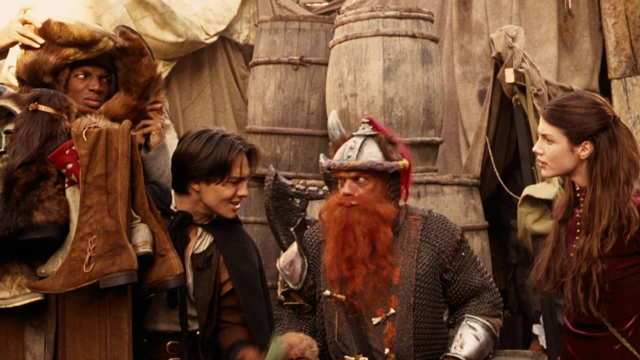 The party - (l to r) the thieves Snails (Marlon Wayans) and Ridley Freeborn (Justin Whalin), the dwarf Elwood (Lee Arenberg) and the magic user Marina of Pradenza (Zoe McLellan) in Dungeons and Dragons (2000)