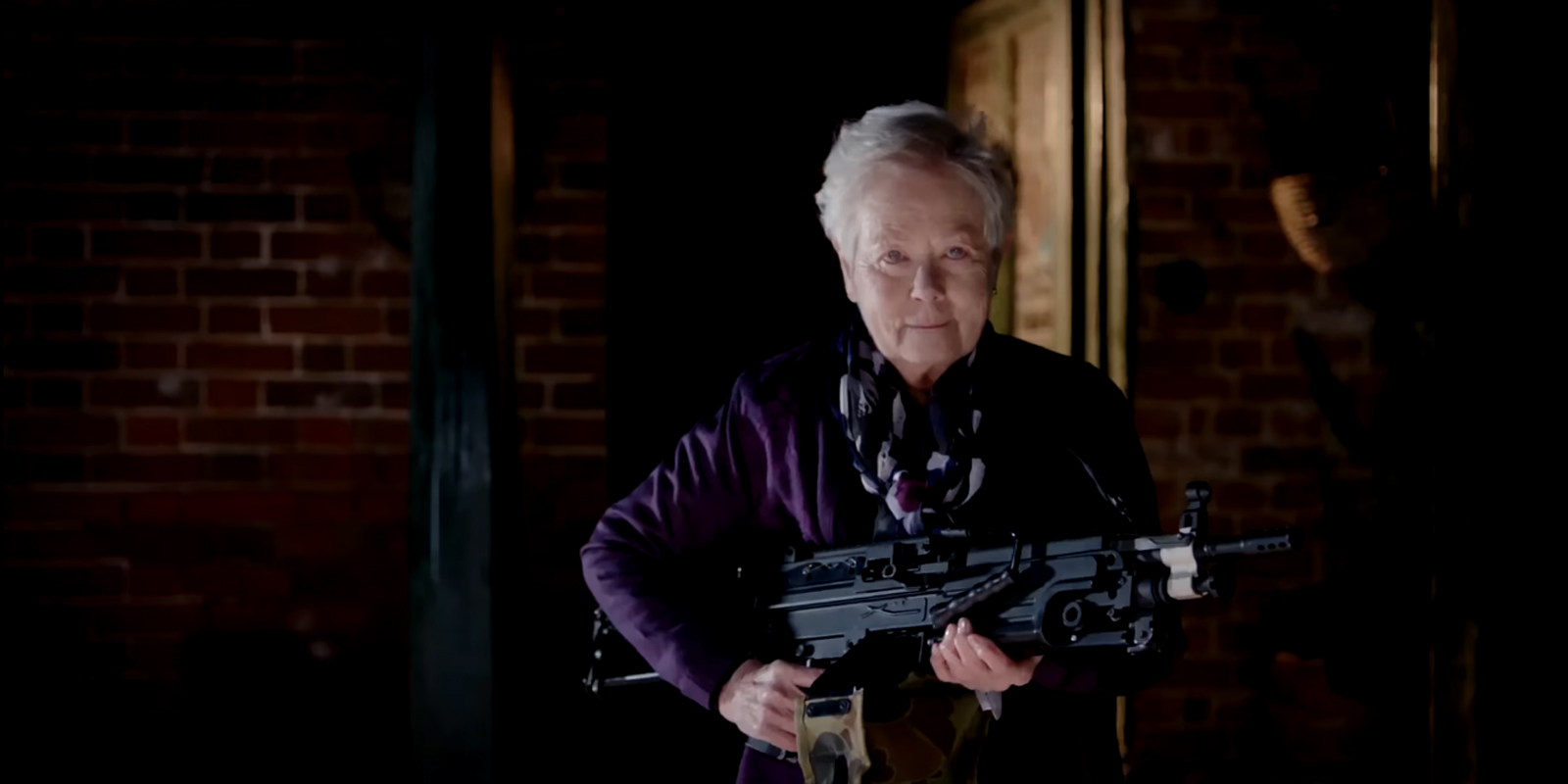 Annette Crosbie stealing he show as the vampire senior with a machine gun in Eat Locals (2017)