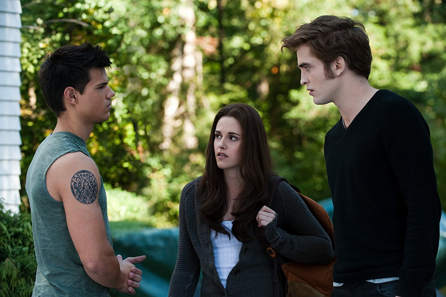 Love triangle - Bella Swan (Kirsten Stewart), Jacob Black (Taylor Lautner) and Edward Cullen (Robert Pattinson) in Eclipse (2010)