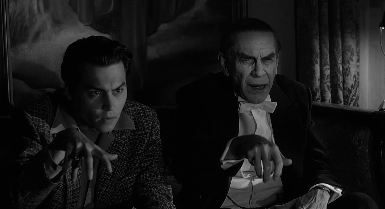 (l to r) Edward D. Wood Jr (Johnny Depp) and Bela Lugosi (Martin Landau) in Ed Wood (1994)