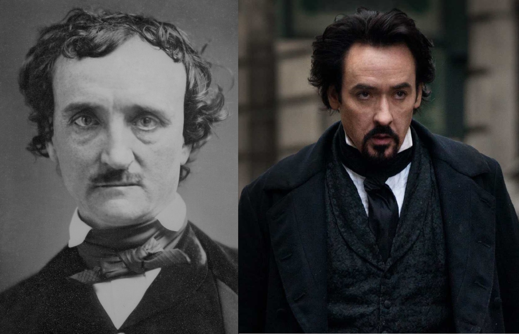 (l to r) The real Edgar Allan Poe vs John Cusack cast as Poe in The Raven (2012)