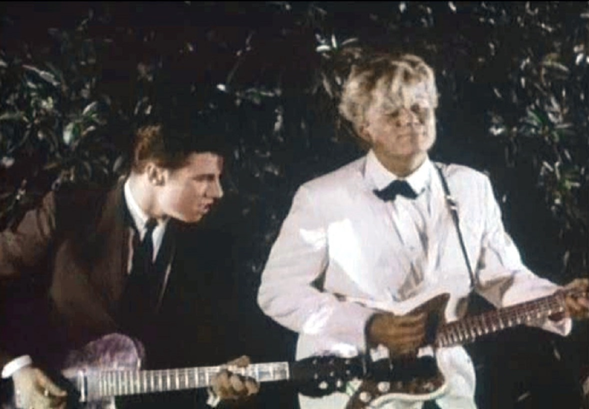 Arch Hall Jr (r) playing with his rock'n'roll band in Eegah (1962)