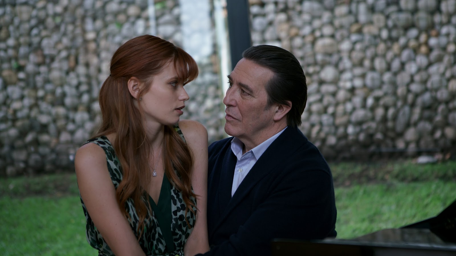 Scientist Ciaran Hinds and his clone wife Elizabeth (Abbey Lee) in Elizabeth Harvest (2018)