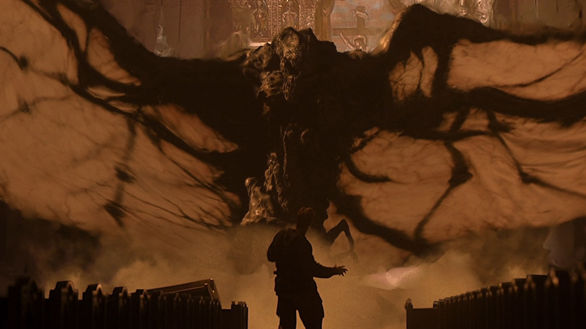 Arnold Schwarzenegger stands up to fight as Satan manifests as a giant CGI effect in End of Days (1999)