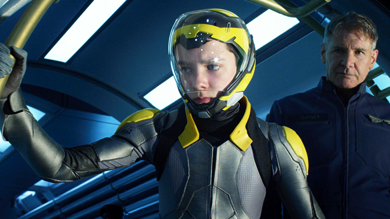 Asa Butterfield as Ender Wiggin and Harrison Ford as Colonel Graffin Ender's Game (2013)