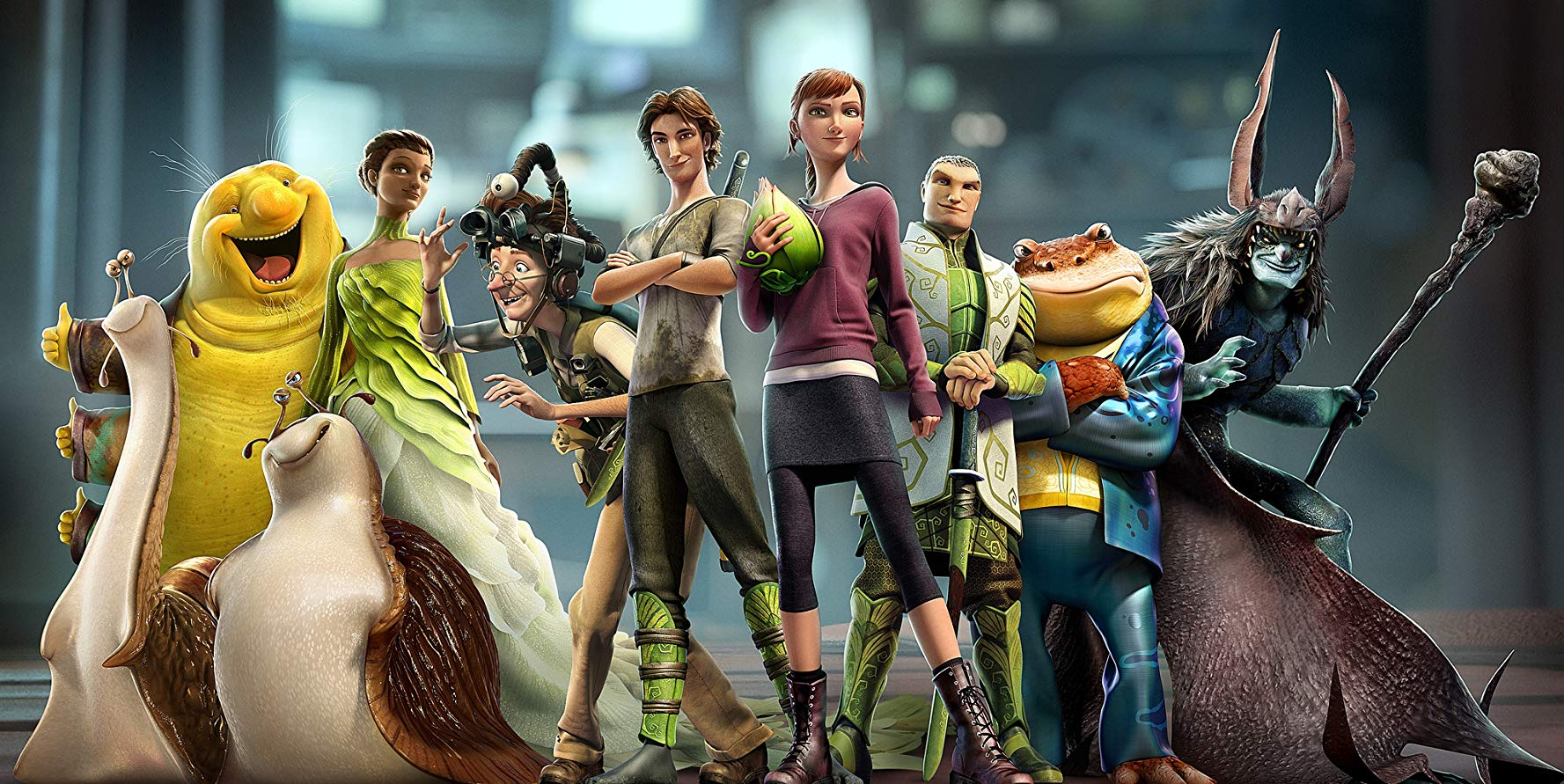 Character line-up - (l to r) Grub (voiced by Chris O'Dowd), Nim Galuu (voiced by Steven Tyler), Mub (voiced by Aziz Ansari), Queen Tara (voiced by Beyoncé), Professor Bomba (voiced by Jason Sudeikis), Nod (voiced by Josh Hutcherson), shrunken human heroine M.K. (voiced by Amanda Seyfried), Ronin (voiced by Colin Farrell), Bugo (voiced by Pitbull) and the Boggan leader Mandrake (voiced by Christoph Waltz) in Epic (2013)