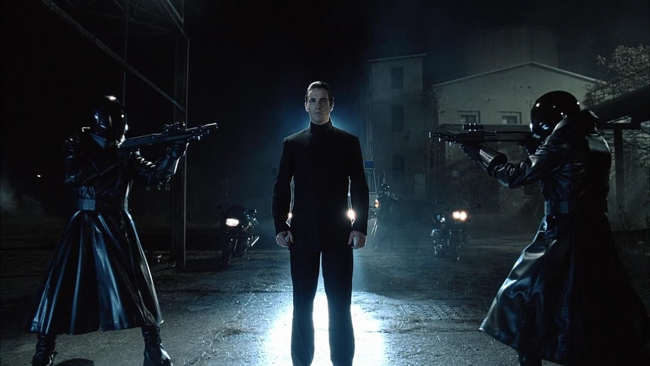 Christian Bale as John Preston, a Tetragrammaton Cleric, law enforcement officer in a dystopian future in Equilibrium (2002)