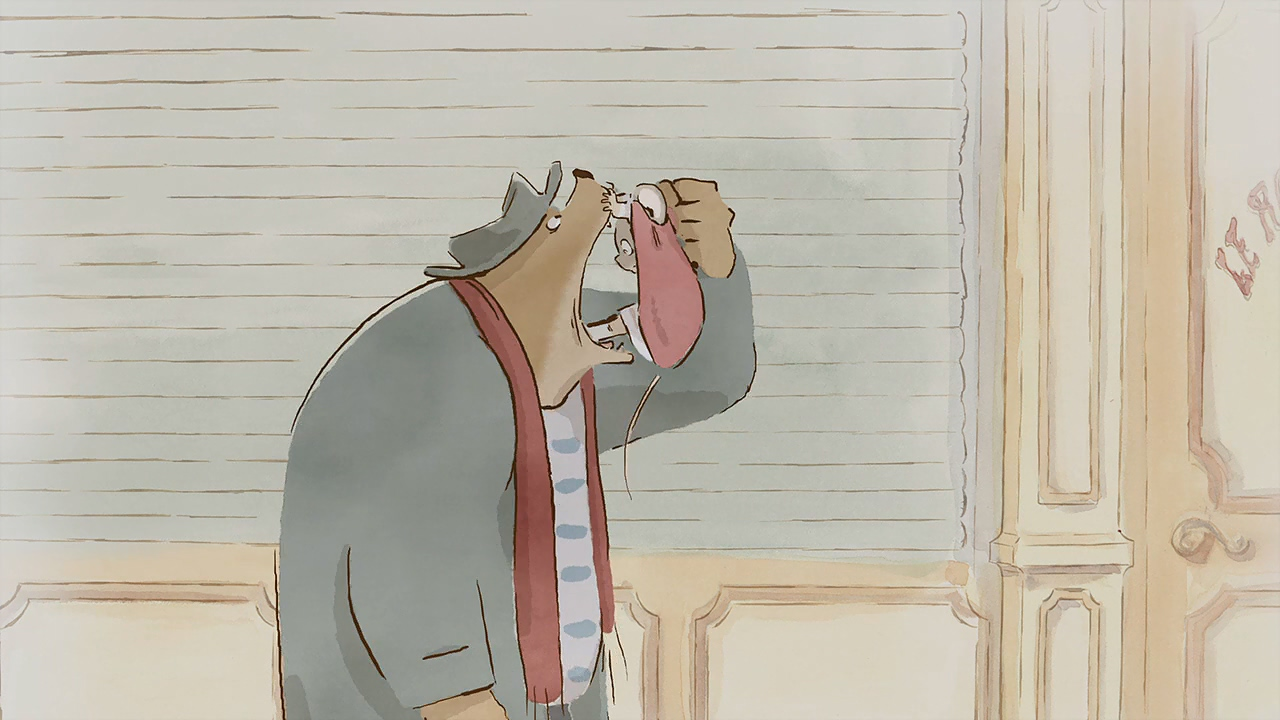 Ernest threatens to eat Celestine in Ernest and Celestine (2012)