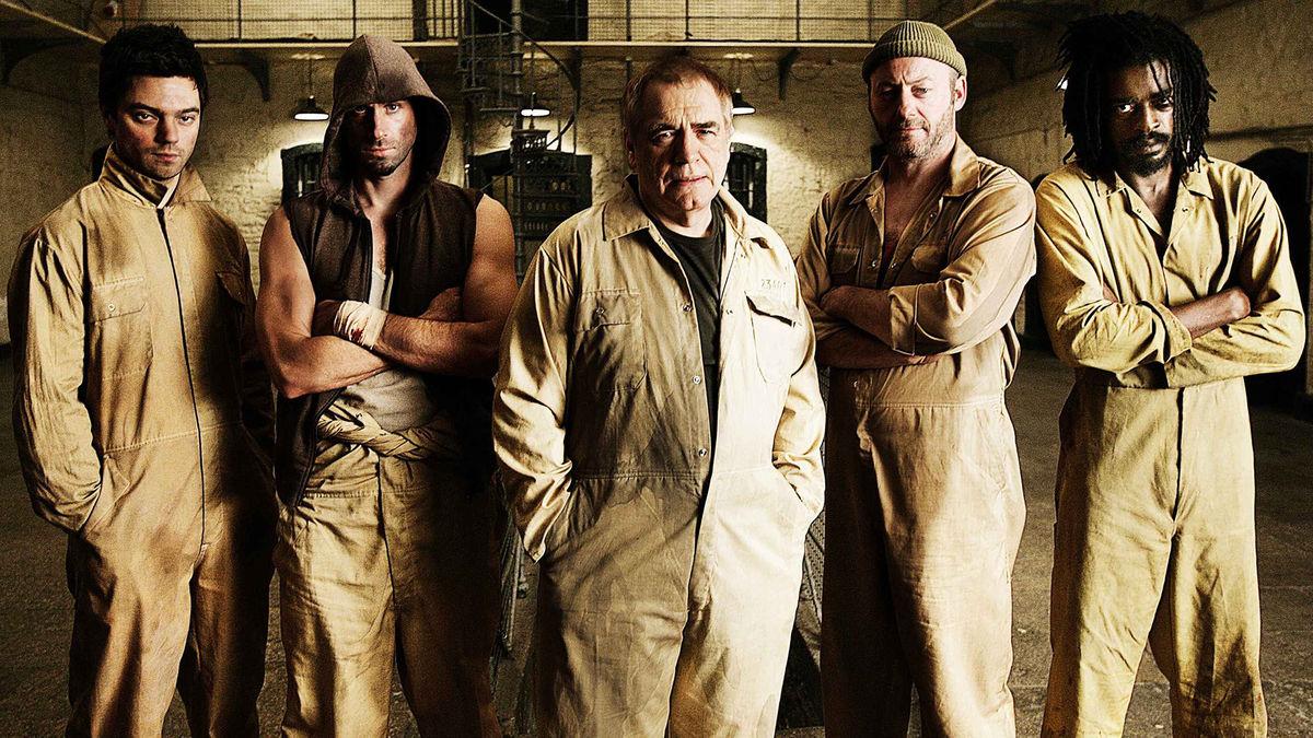 The escapees - (l to r) Dominic Cooper, Joseph Fiennes, Brian Cox, Liam Cunningham and Seu Jorge in The Escapist (2008)