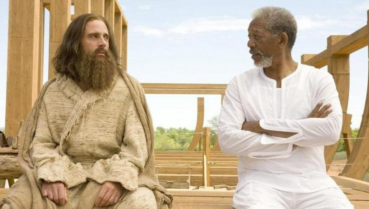 Evan Baxter (Steve Carell) and God (Morgan Freeman) in Evan Almighty (2007)