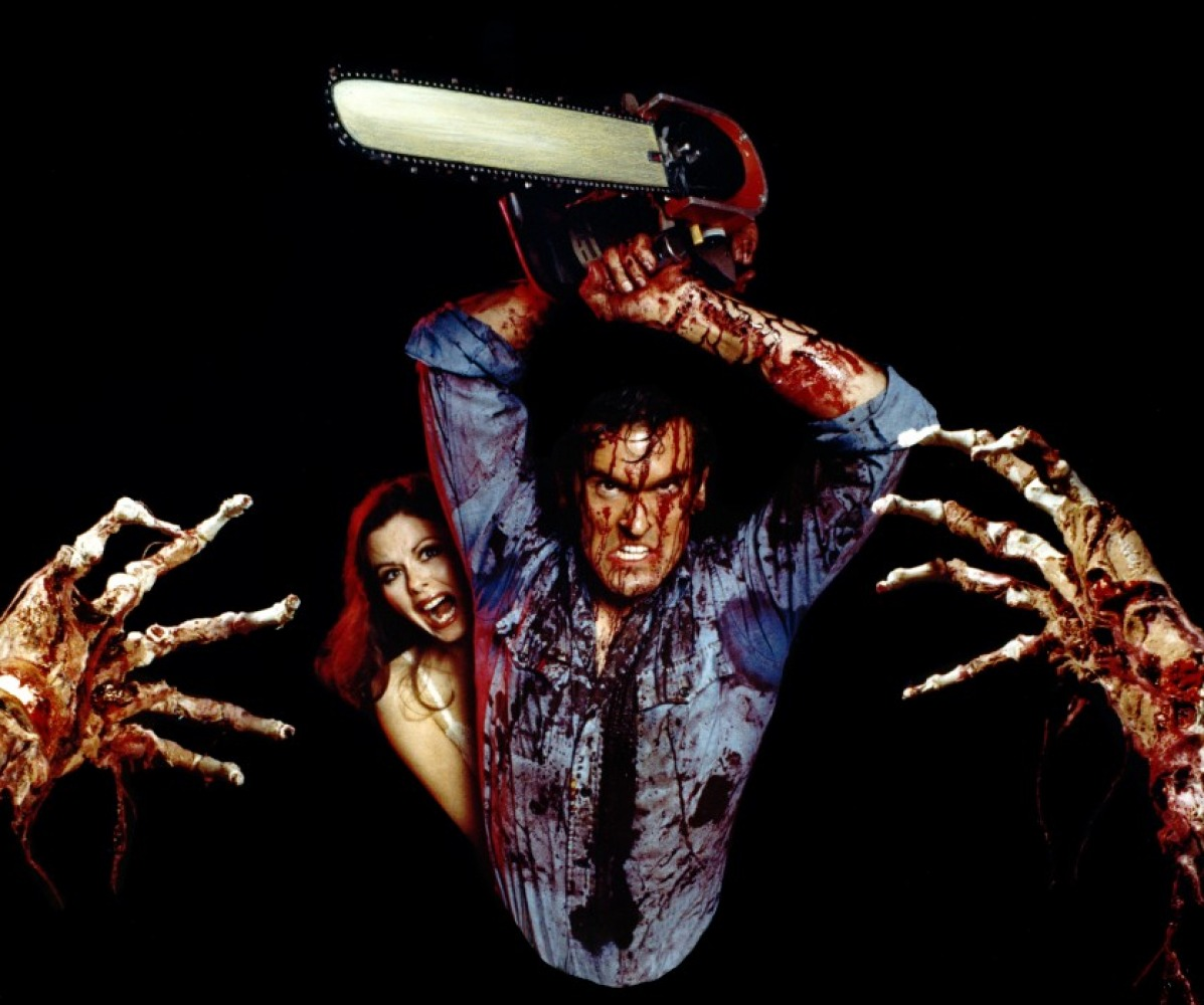 Bruce Campbell takes on the evil dead with chainsaw in The Evil Dead (1981)