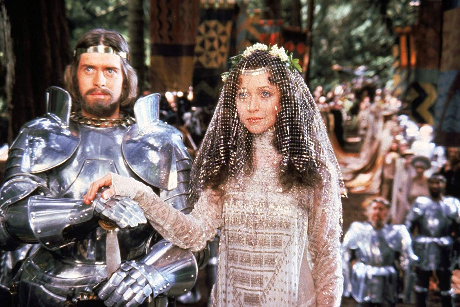 The wedding of King Arthur (Nigel Terry) and Guenevere (Cherie Lunghi) in Excalibur (1981)