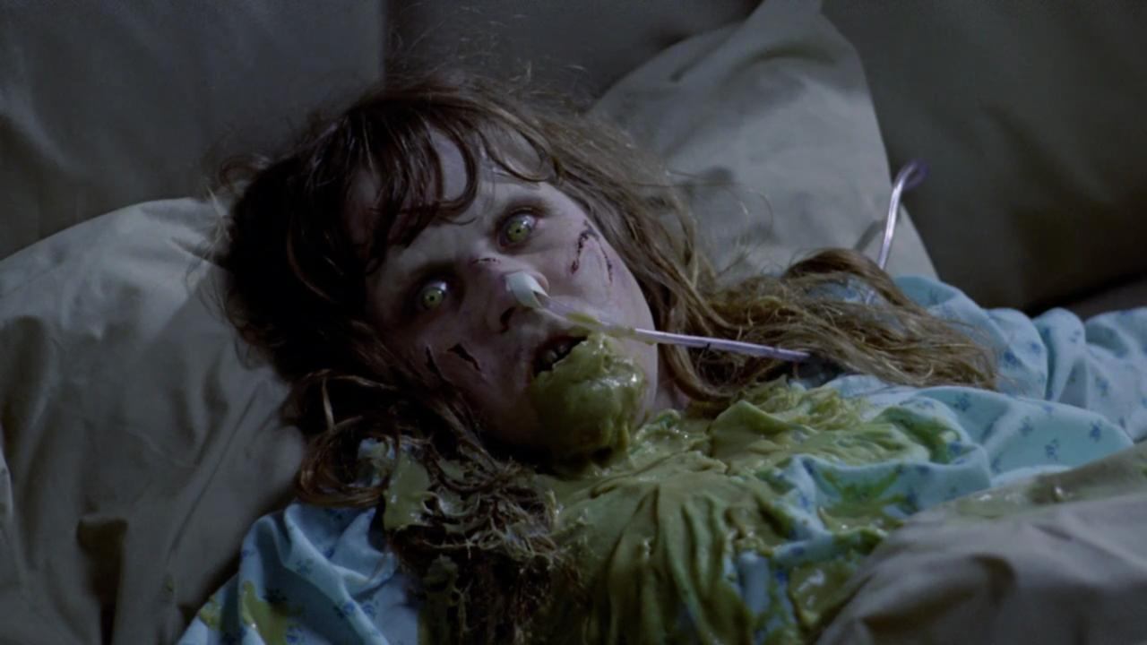 A demonically possessed Linda Blair in The Exorcist (1973)
